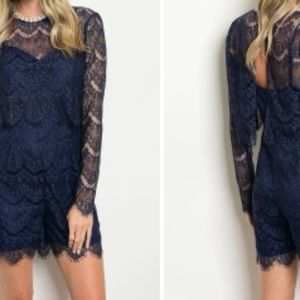 Coming Soon! Navy  Long Sleeve Lace Romper w/Top.